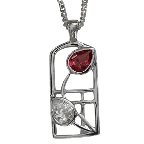 "Ruby & ""white"" cubic zirconias silver necklace. Charles Rennie Mackintosh. Cairn pendant 584 Valentine"