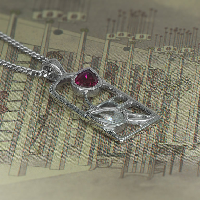 "Charles Rennie Mackintosh Necklace ""Valentine"" Ruby & ""White"" Czs. Sterling Silver. Tarnish Resistant. Cairn 584"