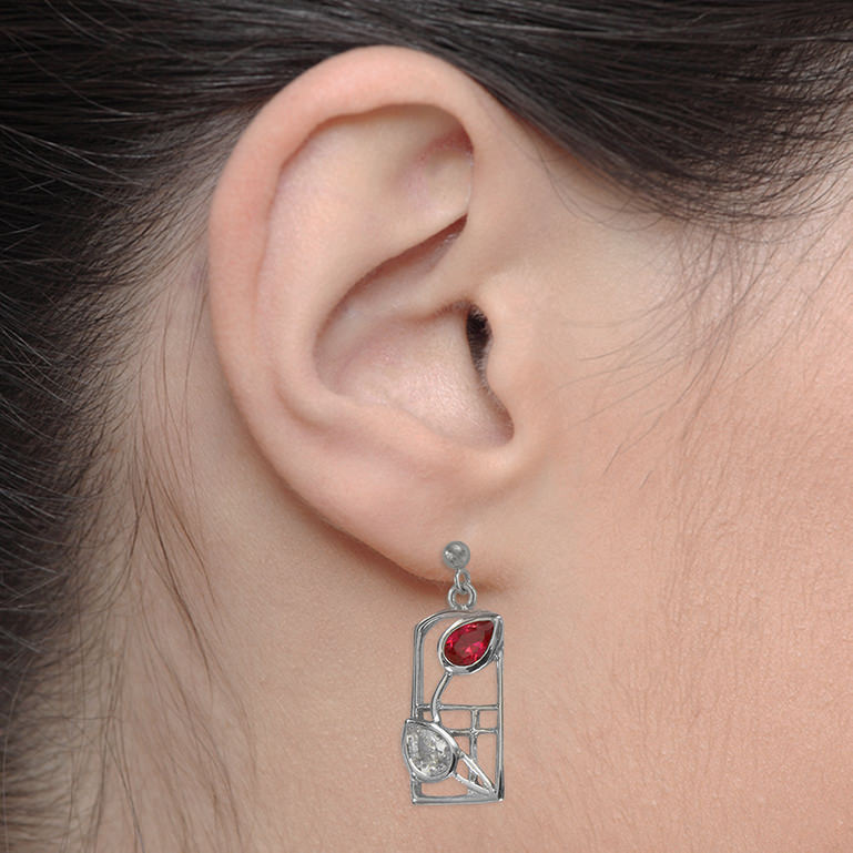 "Charles Rennie Mackintosh Earrings ""Valentine"" Ruby & ""White"" Czs. Sterling Silver. Tarnish Resistant. Cairn 585"