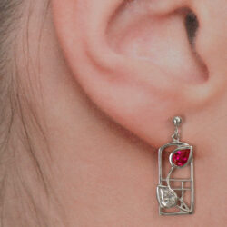 "Cairn 585 Silver Rennie Mackintosh ""Valentine"" Earrings - Ruby & ""white"" czs. Tarnish Resistant. Art Nouveau. Designer. British Made. Rennie Mackintosh Jewellery."