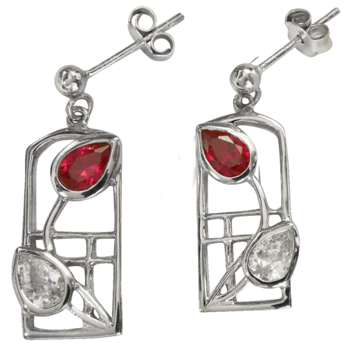 Silver Charles Rennie Mackintosh Earrings - Valentine - Ruby & Cubic zirconias. Created Gemstones 585 Cairn