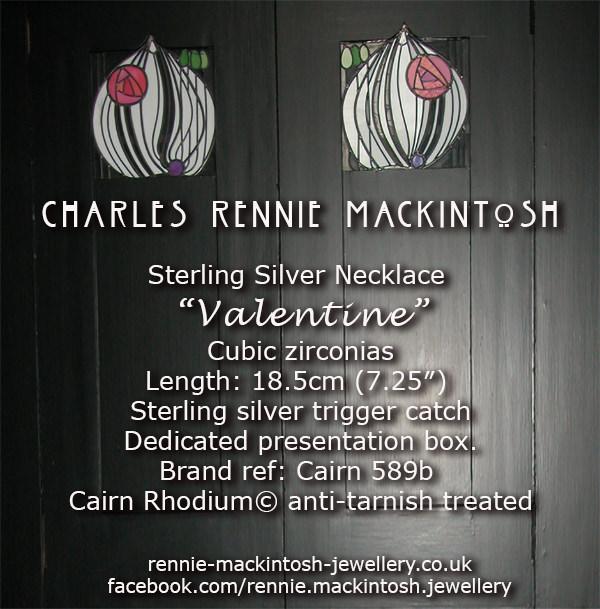 Cairn Silver Charles Rennie Mackintosh Bracelet - Valentine - Cubic zirconias. Tarnish Resistant. 589b