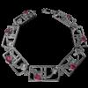 "Charles Rennie Mackintosh Bracelet ""Valentine"" Ruby & ""White"" Czs. Sterling Silver. Tarnish Resistant. Cairn 589b"
