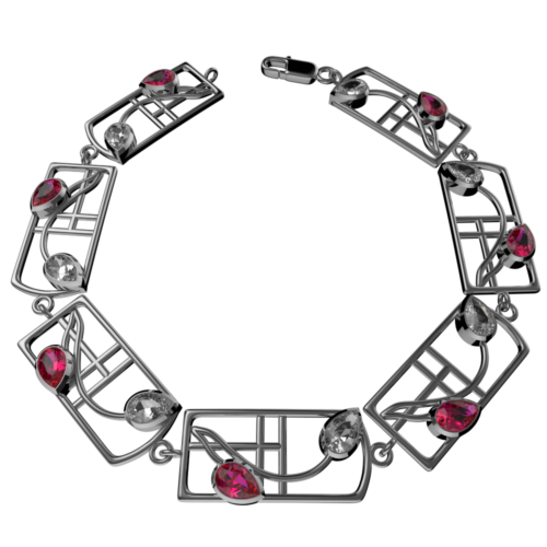 "Charles Rennie Mackintosh Bracelet ""Valentine"" Ruby & ""White"" Czs. Sterling Silver. Tarnish Resistant. Cairn 589b"