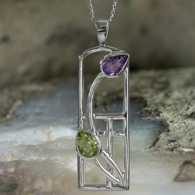 """Sterling Silver Charles Rennie Mackintosh Necklace """"Thistle"""" Amethyst & Peridot. Tarnish Resistant. Cairn 590"""