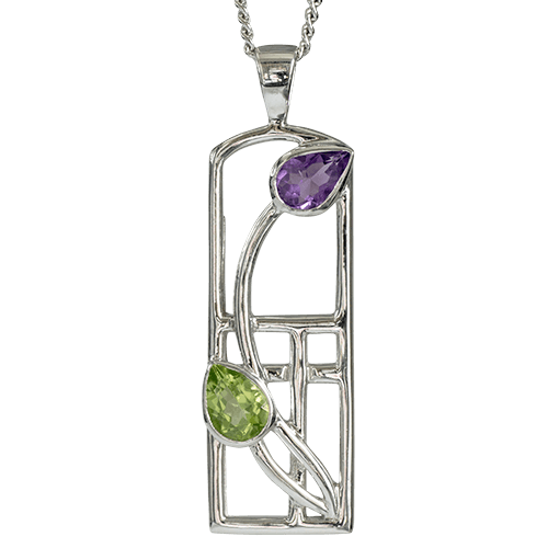 Amethyst & peridot silver necklace. Charles Rennie Mackintosh. Cairn pendant 590 Thistle