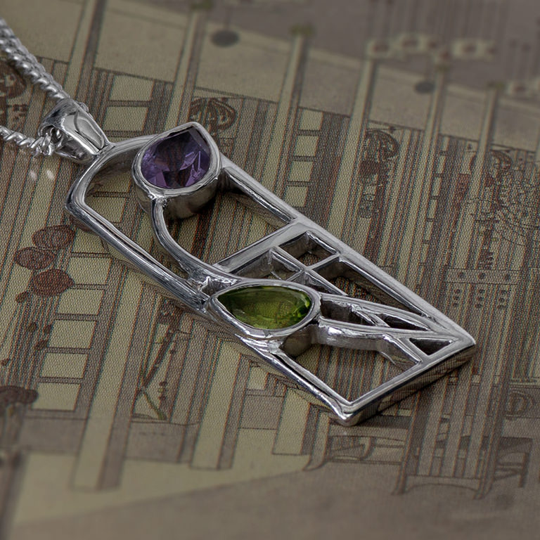 "Long Charles Rennie Mackintosh Necklace ""Thistle"" Amethyst & Peridot. Sterling Silver. Tarnish Resistant. Cairn 590"