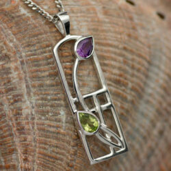 "Cairn 590 Long Silver Rennie Mackintosh Necklace - Amethyst & Peridot ""Thistle"". Tarnish Resistant. British Made. Rennie Mackintosh Jewellery."