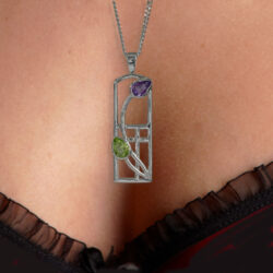 "Silver Charles Rennie Mackintosh Necklace Amethyst & Peridot ""Thistle"" 590 Cairn"