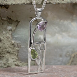 "Cairn 590 Long Silver Rennie Mackintosh Necklace - Amethyst & Peridot ""Thistle"" 2"
