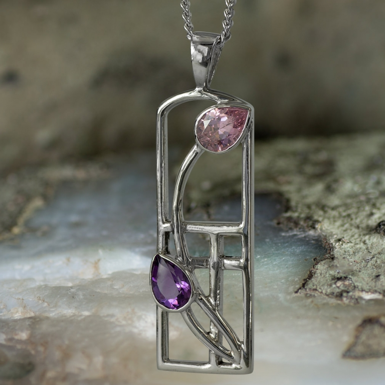 "Sterling Silver Charles Rennie Mackintosh Necklace ""Petals"" Amethyst & Peridot. Tarnish Resistant. Cairn 593"