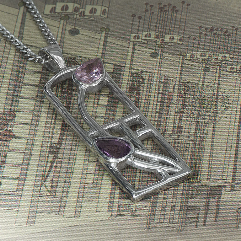 """Long Charles Rennie Mackintosh Necklace """"Petals"""" Amethyst & Pink Cz. Sterling Silver. Tarnish Resistant. Cairn 593"""