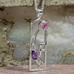 Cairn 593 Long Silver Rennie Mackintosh Necklace - Amethyst & Pink CZ 2