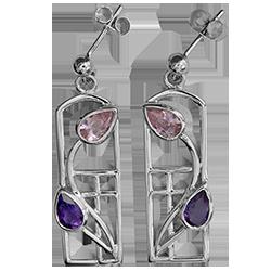 Amethysts & pink cubic zirconias silver earrings. Charles Rennie Mackintosh. Cairn 594
