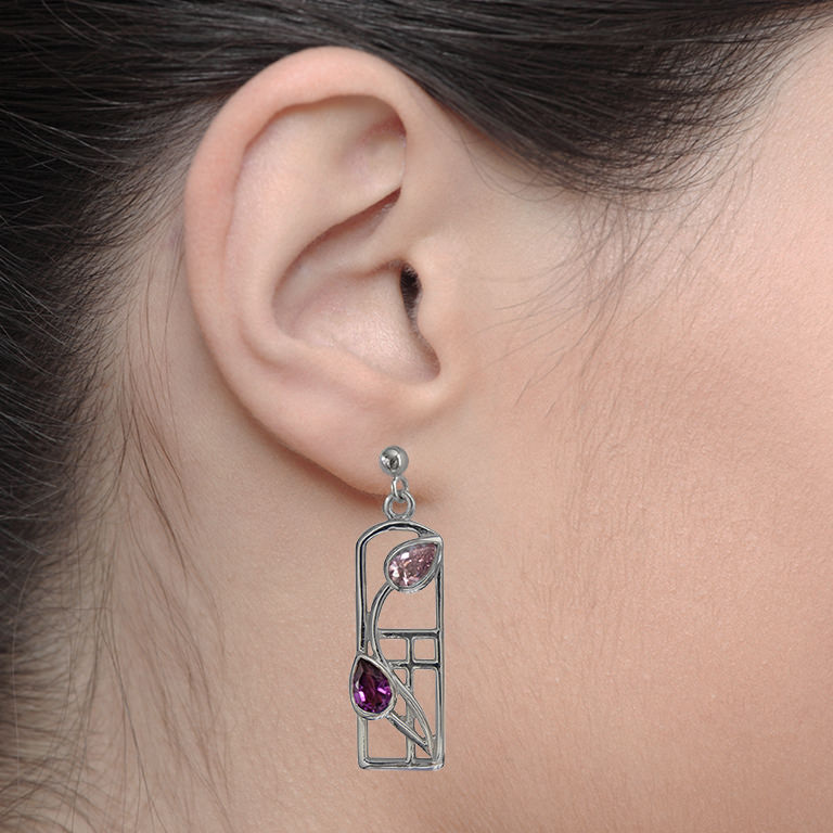 "Charles Rennie Mackintosh Earrings ""Petals"" Amethysts & Pink Czs. Sterling Silver. Tarnish Resistant. Cairn 594"