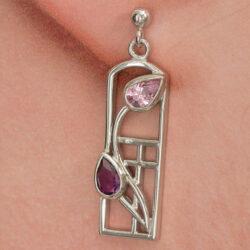 Cairn 594 Long Silver Rennie Mackintosh Earrings - Amethysts & Pink CZs. Tarnish Resistant. British Made. Rennie Mackintosh Jewellery.