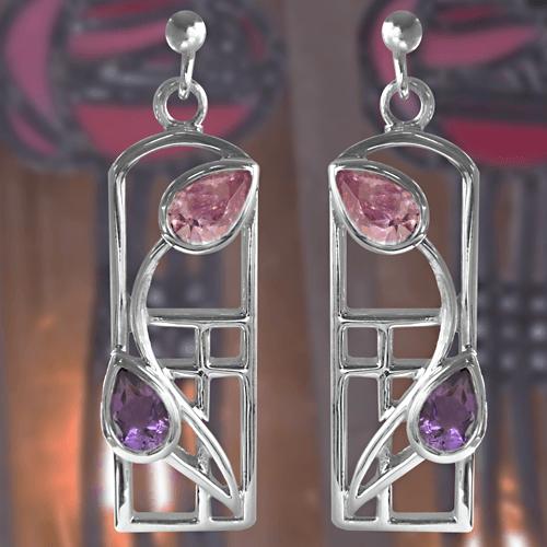 Long Charles Rennie Mackintosh Silver Earrings - Amethysts & Pink CZs | 594 |