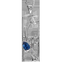 Royal blue sapphire & cubic zirconia silver necklace. Charles Rennie Mackintosh. Cairn pendant 595 Saltire