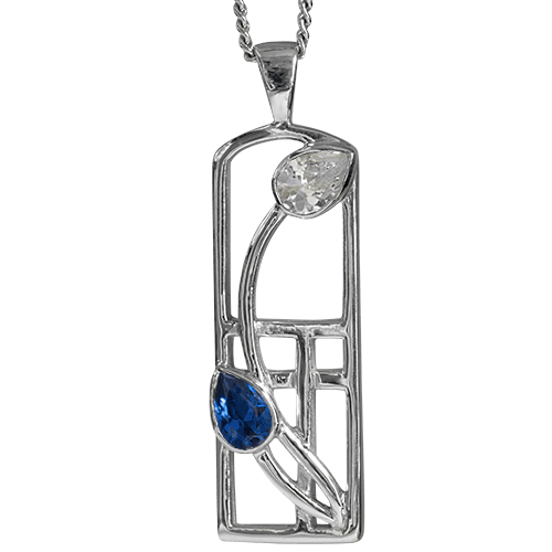 Royal blue sapphire & cubic zirconia silver necklace. Charles Rennie Mackintosh. Cairn pendant 595 Saltire