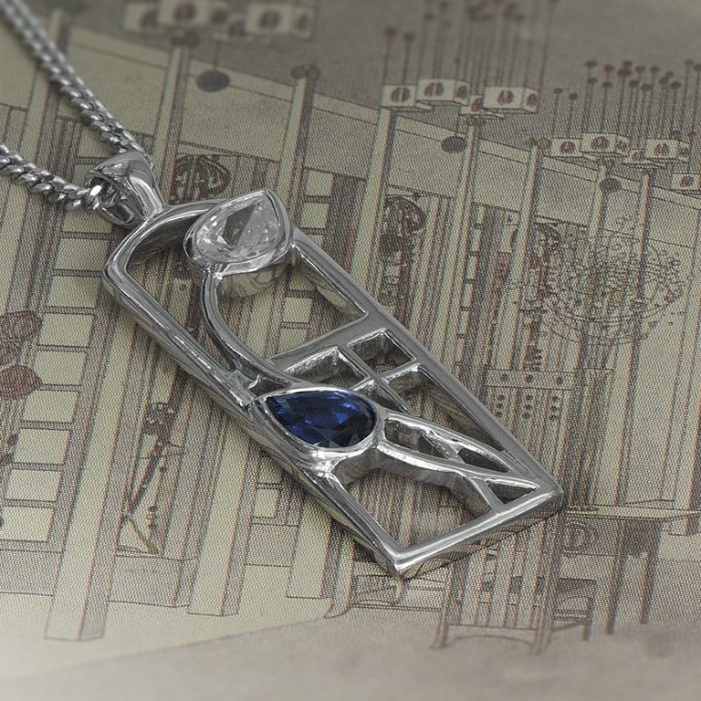 "Long Charles Rennie Mackintosh Necklace ""Saltire"". Sapphire & Cz. Sterling Silver. Tarnish Resistant. Cairn 595"