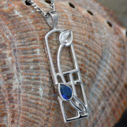 "Cairn 595 Long Silver Rennie Mackintosh Necklace - Sapphire & Cubic Zirconia ""Saltire"" Tarnish Resistant. British Made. Rennie Mackintosh Jewellery."