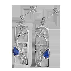 Royal blue sapphires & cubic zirconias earrings - Saltire. Charles Rennie Mackintosh. CG 596 Cairn