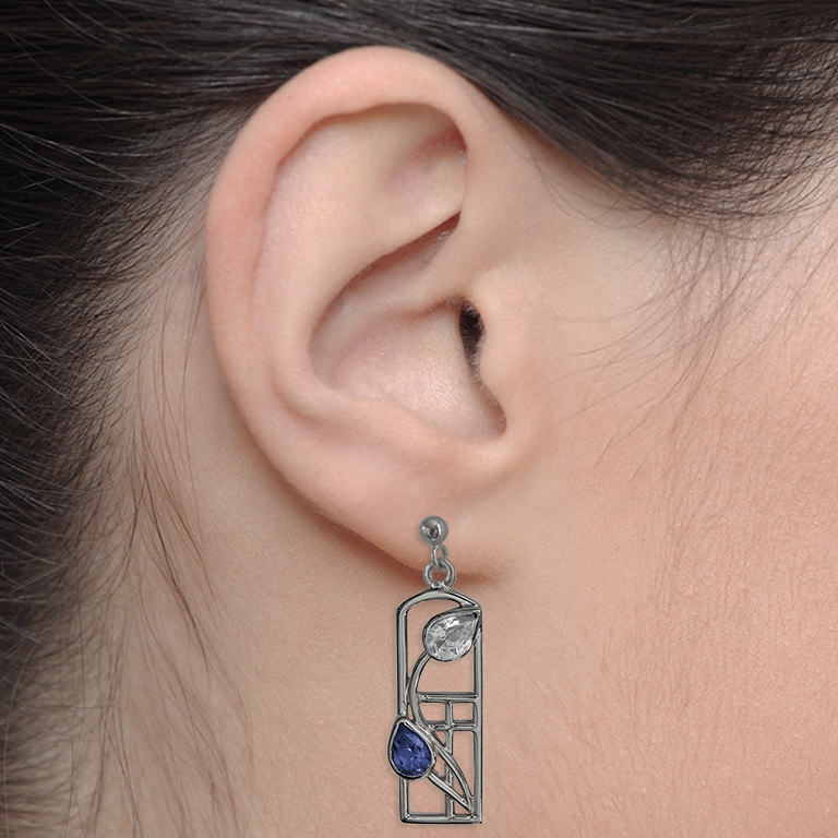 "Charles Rennie Mackintosh Earrings ""Saltire"" Sapphires & Cubic Zirconias . Sterling Silver. Tarnish Resistant. Cairn 596"