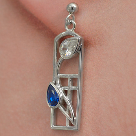 "Cairn 596 Long Silver Rennie Mackintosh Earrings - ""Saltire"" Sapphires & Cubic Zirconias . Tarnish Resistant. British Made. Rennie Mackintosh Jewellery."