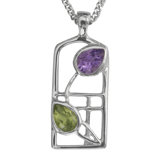 Amethyst & peridot silver necklace. Charles Rennie Mackintosh. Cairn pendant 598 Thistle