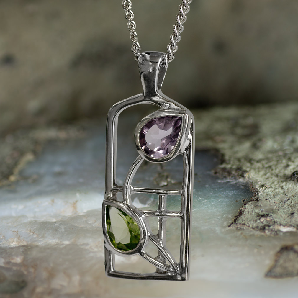"""Sterling Silver Charles Rennie Mackintosh Necklace """"Thistle"""" Amethyst and Peridot. Tarnish Resistant. Cairn 598"""