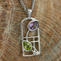 "Cairn 598 Silver Rennie Mackintosh Necklace - ""Thistle"" Amethyst & Peridot. Tarnish Resistant. British Made. Rennie Mackintosh Jewellery."