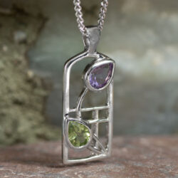 "Cairn 598 Silver Rennie Mackintosh Necklace - ""Thistle"" Amethyst & Peridot 2"