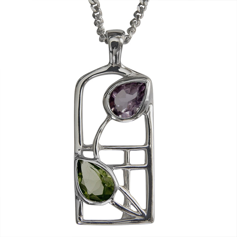 "Charles Rennie Mackintosh Necklace ""Thistle"" Amethyst & Peridot. Sterling Silver. Tarnish Resistant. Cairn 598"