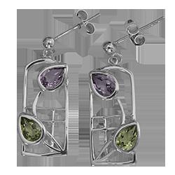 CharleCharles Rennie Mackintosh earrings Dern. Sterling silver. Amethysts & peridots. Cairn 599s Rennie Mackintosh earrings Dern. Sterling silver. Amethysts & peridots. Cairn 599