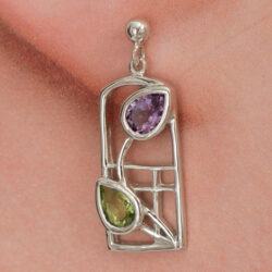 "Cairn 599 Silver Rennie Mackintosh Earrings - ""Thistle"" Amethysts & Peridots. Tarnish Resistant. British Made. Rennie Mackintosh Jewellery."