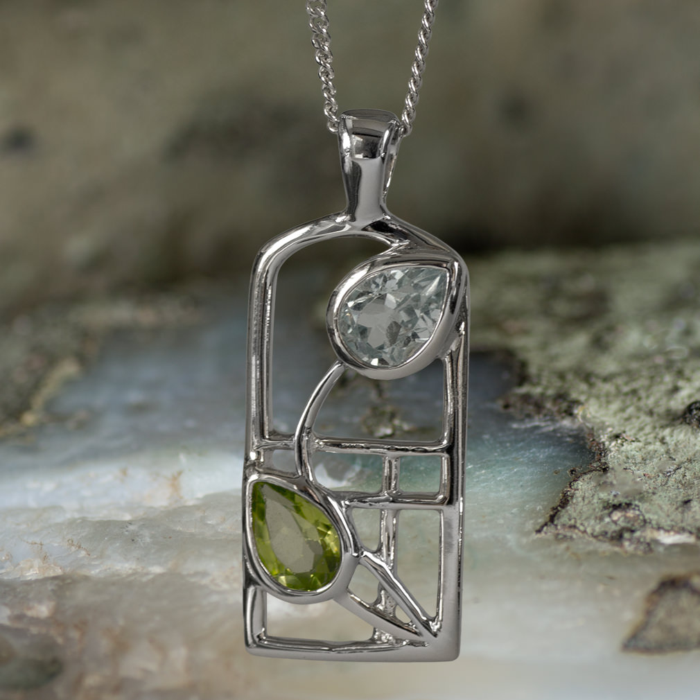 "Sterling Silver Charles Rennie Mackintosh ""Skyelawn"" Necklace. Peridot & Blue topaz. Tarnish Resistant. Cairn 600"
