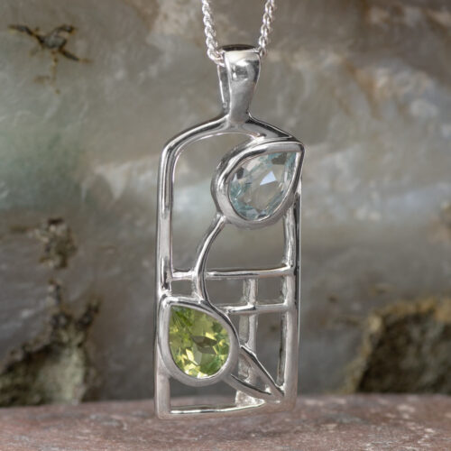 "Cairn 600 Silver Rennie Mackintosh ""Skyelawn"" Necklace - Peridot & Blue topaz 2"