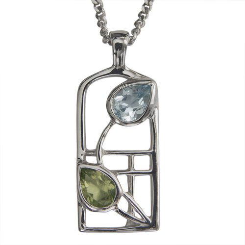 "Charles Rennie Mackintosh Necklace ""Skyelawn"" Peridot & Blue Topaz. Sterling Silver. Tarnish Resistant. Cairn 600"