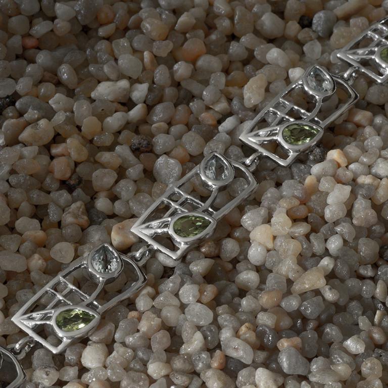 "Charles Rennie Mackintosh Bracelet ""Skyelawn"". Peridot & Blue Topaz. Sterling Silver. Tarnish Resistant. Cairn 600b"