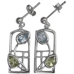Peridot & blue topaz silver earrings. Charles Rennie Mackintosh. Cairn 601