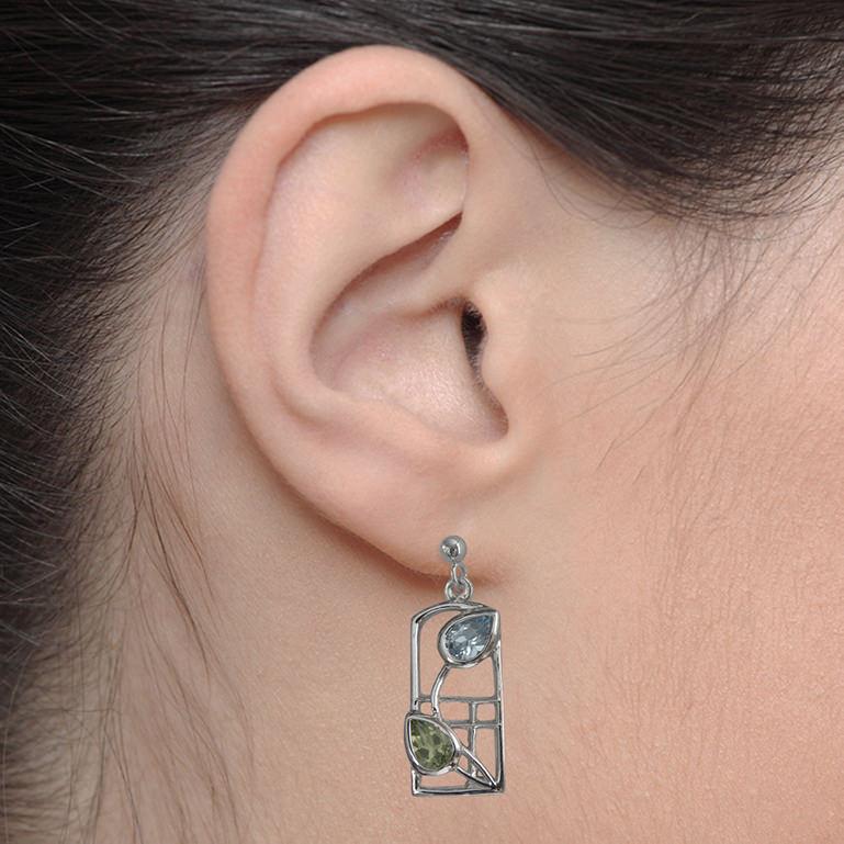 "Silver Mackintosh Earrings ""Skyelawn"" Peridot & Blue Topaz. Sterling Silver. Tarnish Resistant. British Made. Cairn 601"