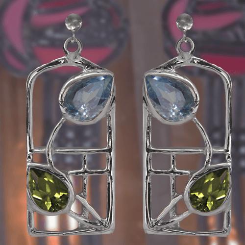 "Rennie Mackintosh Silver Earrings - ""Skyelawn"" Peridot & Blue Topaz | 601 |"