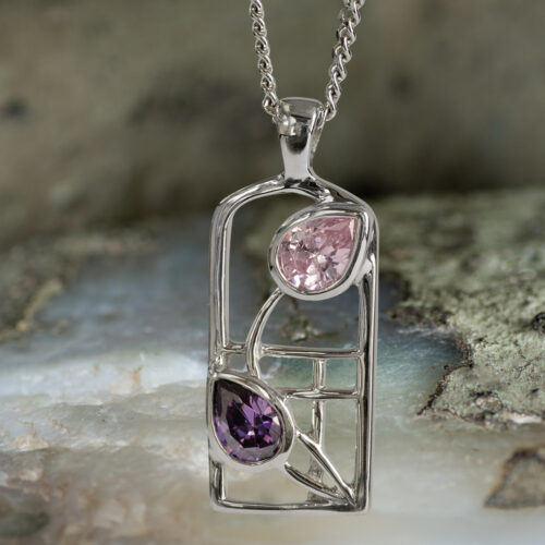 "Sterling Silver Charles Rennie Mackintosh Necklace ""Petals"" Amethyst & Pink Cubic Zirconia. Tarnish Resistant. Cairn 602"