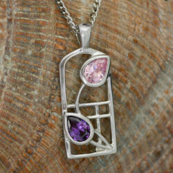 "Cairn 602 Silver Rennie Mackintosh Necklace - Amethyst & Pink Cubic Zirconia ""Petals"" Tarnish Resistant. British Made. Rennie Mackintosh Jewellery."