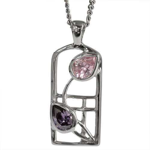 "Charles Rennie Mackintosh Necklace ""Petals"" Amethyst & Pink Cz. Sterling Silver. Tarnish Resistant. Cairn 602"