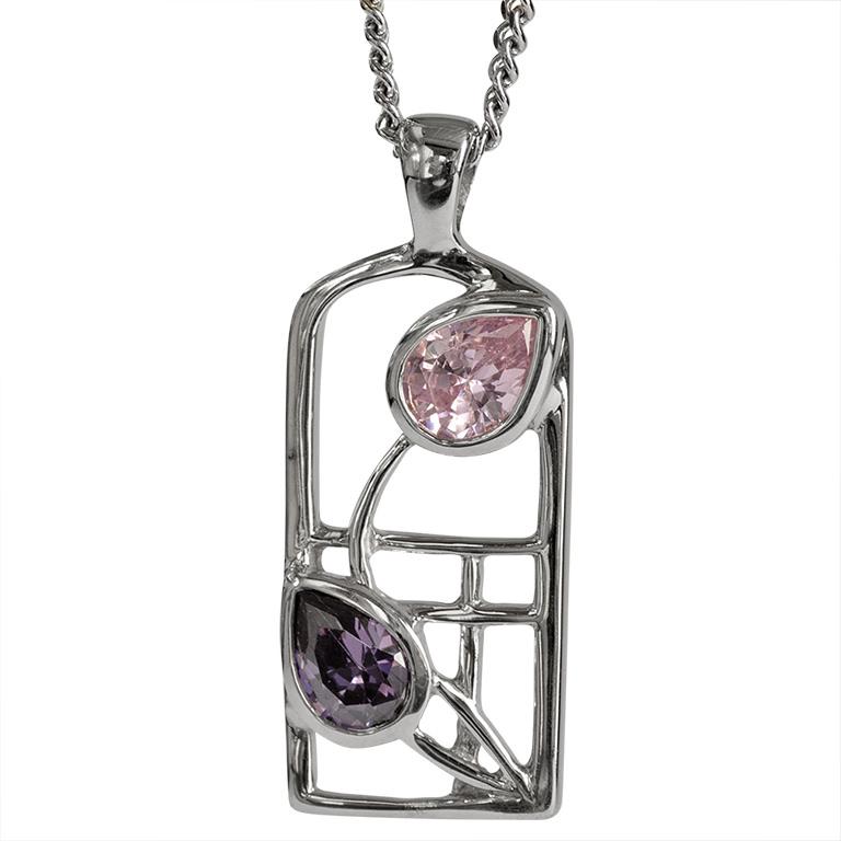 "Charles Rennie Mackintosh Necklace ""Petals"" Amethyst & Pink Cz. Sterling Silver. Tarnish Resistant. Cairn 602"