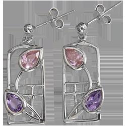 Amethysts & pink zirconias silver earrings. Charles Rennie Mackintosh. Cairn 603