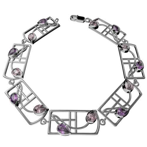 "Cairn 603b Silver Rennie Mackintosh Bracelet – ""Petals"". Amethyst & Pink CZs. Tarnish Resistant. British Made."
