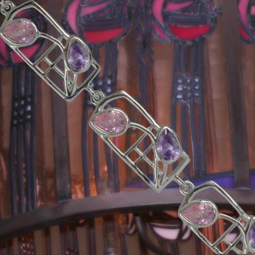 "Cairn 603b Silver Rennie Mackintosh Bracelet – ""Petals"". Amethyst & Pink CZs. Tarnish Resistant. British Made."