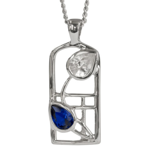 Royal blue sapphire & cubic zirconia silver necklace. Charles Rennie Mackintosh. Cairn pendant 604 Saltire